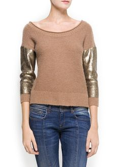MANGO - Sequined sleeves sweater