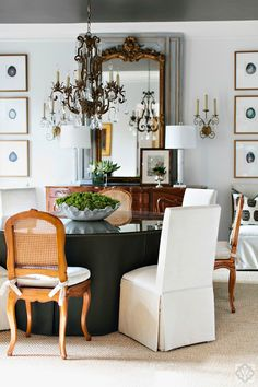 Dana Wolter Interiors Graham Yelton Photography #diningroom Upholstered table