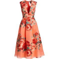 Lela Rose Floral Sleeveless V-Neck Midi Dress ($2,695) ❤ liked on Polyvore featuring dresses, deep v neck dress, red floral dress, floral embroidered dress, chiffon dresses and red chiffon dress