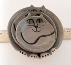 decorative nesting bowls Cat Pottery HM collection gray by firecat, $68.00