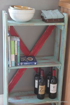 Pallet Bookshelf, maybe make it narrower, and put two side by side with shelves at different levels