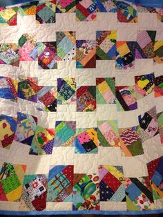 A Scrap Happy 38 X 39 Quilt For Baby by WrappingYouInWarmth, $74.00