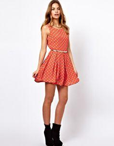 Enlarge Glamorous Belted Skater Dress In Polka Print