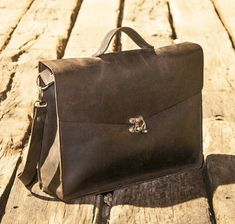 Jami Bag - Unisex big shulder leather Bag handmade leather bag A very big rough dark leather bag Can also be used for carrying laptop Perfect for