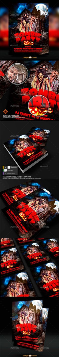 Spooky Zombie Party Flyer Template Zombie party, Flyer template - zombie flyer template