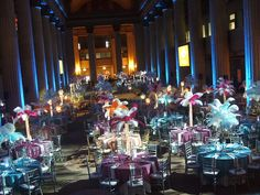 Feather & Crystal centerpieces create flamboyant and enchanting tablescapes inside Cleveland's Huntington Bank building.