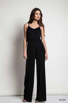 Sleeveless wide leg jumper with strappy racerback. - Black Available - 32 inch inseam