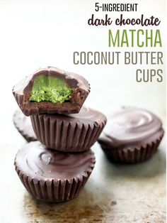5-Ingredient Dark Chocolate Matcha Coconut Butter Cups [vegan]