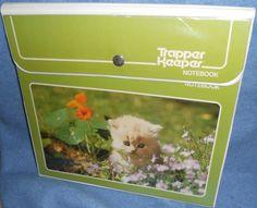 Trapper Keeper Mead Vintage Notebook Binder Kitten Kitty in Flowers Green EUC #Mead