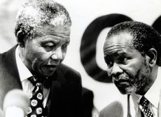 Preseident Nelson Mandela with ANC President Oliver Reginald Tambo.