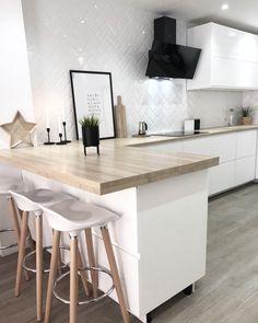 Kitchen Room Design, Living Room Kitchen, Kitchen Decor, Voxtorp Ikea, Ikea Bar, Scandinavian Home, Cabinet Design, Little Houses, Beautiful Kitchens