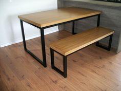 Mesa de jantar e banco de ferro com tampo de madeira   DEHOUSE