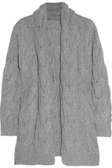 Claudia Schiffer  Knitted wool and angora-blend cardi-coat