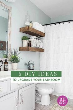 Say goodbye to your outdated bathroom. From installing a wooden accent wall to installing a new light fixture, we're sharing 6 DIY ideas that can take your bathroom from drab to fab in a weekend or less. #diyideas #makeoverideas #bathroomdiy #bathroomideas