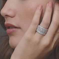 ART DECO Diamond Wedding Band    Opulent, geometric, intricate yet simplistic, this diamond encrusted wedding band is constructed in platinum, 18k or 14k, in infinite detail. This broad yet sizable wedding band mirrors the surface on the underside with elaborate pierced openwork features, carefully directing light to a myriad of bezel and bead-set high quality diamonds graded H color and VS clarity range. Measures 1.3cm wide and 2.5mm deep.    www.faycullen.com/Wedding-Bands/8772/  REF #…