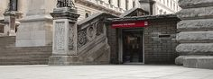 "Entrance to the Churchill War Rooms Museum in London, England. Mike and I visited. Could have spent all day there. That's a place of courage. Great gift shop too. Lots of ""Keep Calm Carry On"" swag. Brought home some things for my friends at Greenwood. Very grateful for our military family."