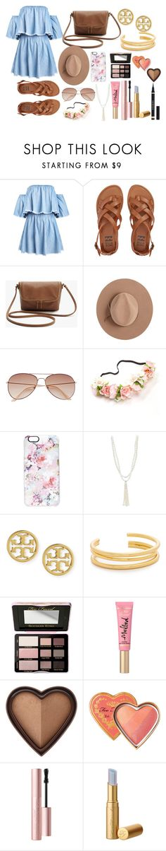 """Coachella"" by carolinescogna on Polyvore featuring Billabong, Satya Twena, H&M, Casetify, Lido Pearls, Tory Burch, Madewell, Too Faced Cosmetics, boho and coachella"
