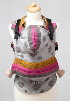 Ergonomic Carrier, Baby Size, jacquard weave 100% cotton - wrap conversion from COFFEE LACE - LennyLamb.com