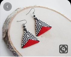 ❣️Zigzag red triangle beaded earrings FREE WORLDWIDE SHIPPING by Russian post small package. ❣️ Measurements: Length: with ear wire without ear wire Width: ❣️ Materials: Miyuki Delica seed beads size Nylon bead thread Stainless steel ear wires ❣️ Please Beaded Earrings Patterns, Beading Patterns, Beaded Jewelry, Crochet Earrings, Diy Jewelry, Peyote Patterns, Bracelet Patterns, Triangle Earrings, Necklaces