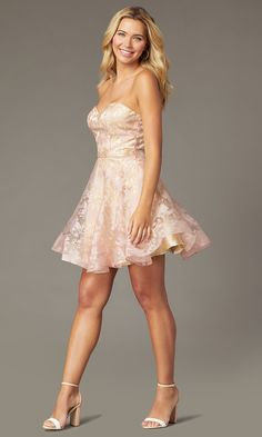 Shop short a-line strapless sweetheart hoco dresses at PromGirl. Hoco dresses with floral prints, pink/nude homecoming dresses with removable straps, and designer homecoming dresses by PromGirl. Blue Homecoming Dresses, Prom Girl Dresses, Event Dresses, Sexy Dresses, Cute Dresses, Casual Dresses, Summer Dresses, Formal Dresses, Wedding Dresses