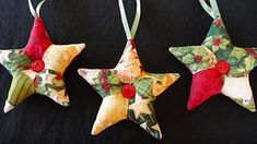 How to make patchwork star ornaments for Christmas. These are the perfect quick, inexpensive, last-minute gift for friends, family, co-workers and acquaintances. Use fabric scraps and vintage buttons for a one-of-a-kind ornament! Folded Fabric Ornaments, Quilted Christmas Ornaments, Christmas Sewing, Noel Christmas, Christmas Fabric, Homemade Christmas, Christmas Decorations, Christmas Quilting, Christmas Projects