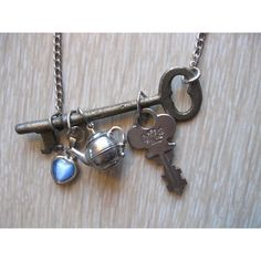 Skeleton key necklace vintage Alice in Wonderland jewelry charms teapot ooak handmade ($23) found on Polyvore