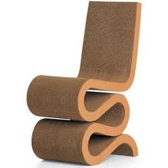 Frank Gehry Wiggle Chair Wiggle Side Chair Frank Gehry Design: 1972 Production: 1972 Manufacturer: Easy Edges, Inc., New York Size: 85 x 42.5 x 60; seat height 45.5 cms Material: corrugated cardboard, fiberboard, round timber Cardboard furniture came on the scene during the sixties as a cheap and light alternative to traditional furniture. At that time attempts were made to reinforce the support of the single-layer cardboard offered by using folds, tabs, slots, and other devices.