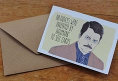 Ron Swanson Parks and Recreation Parks and Rec Birthday Card