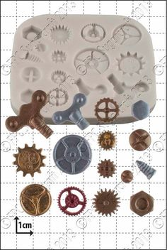 Molde de silicona molde 'Steampunk piñones y por fpcsugarcraft