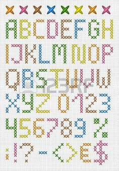 Colorful cross stitch uppercase english alphabet with numbers and symbols. Colorful cross stitch uppercase english alphabet with numbers and symbols. Cross Stitch Numbers, Cross Stitch Letters, Cross Stitch Bookmarks, Cross Stitch Cards, Cross Stitch Baby, Cross Stitching, Cross Stitch Embroidery, Embroidery Patterns, Hand Embroidery
