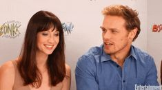 Caitriona Balfe and Sam Heughan reminiscing on the early days of Outlander Sam Heughan News, Caitriona Balfe Outlander, Heartland Tv Show, Serie Outlander, Sam And Cait, Jamie Fraser, Becca, Blue Eyes, Beautiful People