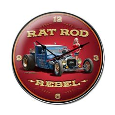 From the Larry Grossman licensed collection, this Rat Rod Rebel clock measures 14 inches by 14 inches and weighs in at 3 lb(s). This clock is hand made in the USA using heavy gauge american steel and                                                                                                                                                       More