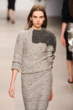 Inspiration - Erna Einarsdottir F/W 2012 ... two different textures of yarn, tweed and fur for flat and raised texture