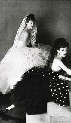 Cocktail dresses by Lanvin Castillo, French Vogue, April, 1950's