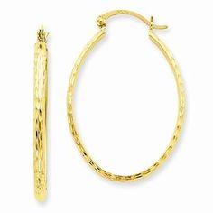 14k Yellow Gold Lightweight Diamond-cut Oval Hoop Earrings