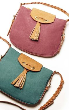 Canvas crossbody bags with tassels & braided shoulder straps. Nice colors.