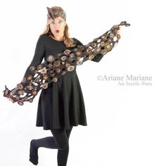 Bark textured nuno felt scarf relief women shawl by ArianeMariane