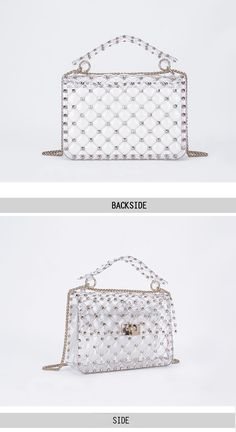 ccd4b7951 Gold Rivets Rhomboids Transparent Flap Square Clear Purses Chain Bags |  Baginning