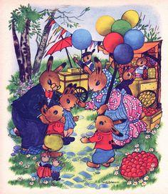 nursery print of Rabbit family at the market, vintage nursery decor for boy or…