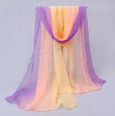 Lady Soft Chiffon Rainbow Gradient Scarf Women Party Dress Neck Warm Wrap 52