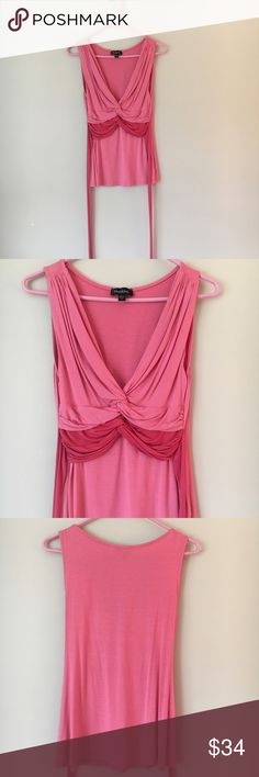 bebe pink adorable ruched front top This adorable top features flattering ruching in the front and ties at the back. Very feminine. Worn once or twice but in great condition. bebe Tops Blouses