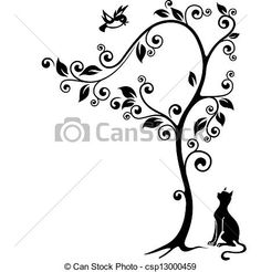 Stock Illustration - Cat under a tree - stock illustration, royalty free illustrations, stock clip art icon, stock clipart icons, logo, line art, pictures, graphic, graphics, drawing, drawings, artwork