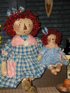 Primitive Folk Art Raggedy Ann Doll*Her Sweet Baby Girl*Mothers Day*Spring Thyme #NaivePrimitive #SharonHall