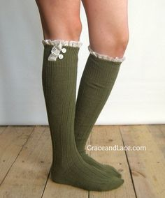 The Milly Lace - Army Green cable-knit Boot Socks with ivory knit lace trim & buttons - lace socks