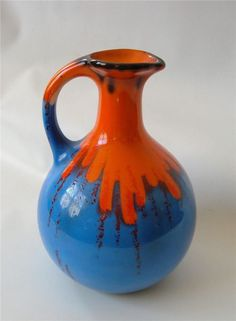Antique Art Deco Czech Pottery Vase Ewer Controlled Drip Glaze Blue Orange