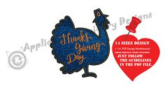 Turkey Embroidery Applique Design-Happy Thanksgiving Day