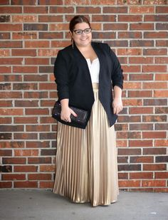 Style Cassentials: Gilding the Lily--love the gold pleated long skirt, the pretty low-cut camisole and then this black blazer. LOVE the unbuttoned long black blazer. Need this item in  my wardrobe.