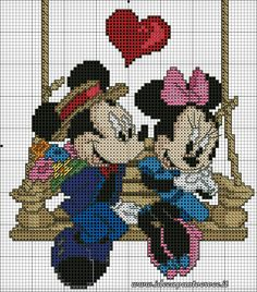 Mickey & Minnie on swing 1 of 2