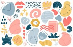 Abstract Doodle Elements. Trendy Modern Hand Drawn Textured Shapes, Creative Contemporary Aesthetic Doodle Elements  Illustration Set. Texture Graphic , Modern Sketch