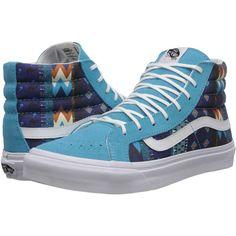 628ef1b651 Vans SK8-Hi Slim Blue Atoll White) Skate Shoes ( 36) ❤